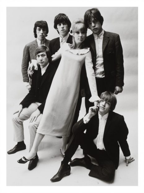 Patti Boyd wearing a Mary Quant dress, photographed with the Rolling Stones French,