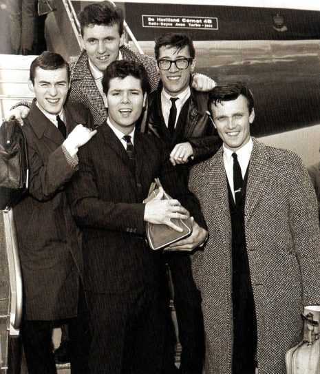 Cliff Richard and members of his supporting instrumental band 'The Shadows', at London
