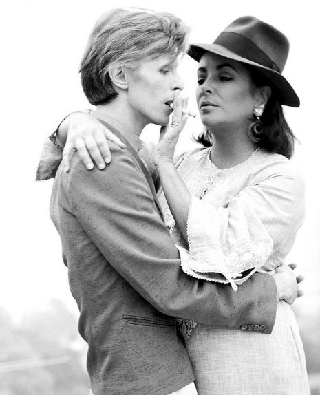 Photograph by Terry O'Neill of David Bowie and Elizabeth Taylor