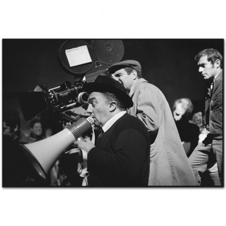 Federico Fellini giving direction during a take,Satyricon, Rome, Italy 1969