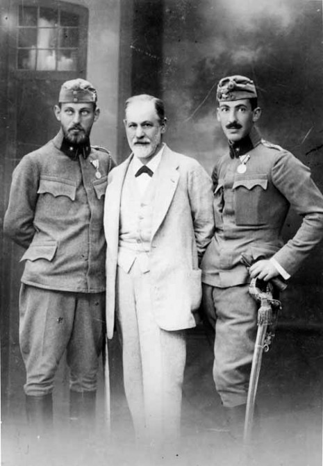 Freud with sons Ernst (left) and Martin. Salzburg, August 1916