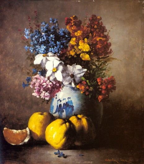 Germain Theodure Clement Ribot  - A Still Life With a Vase of Flowers and Fruit