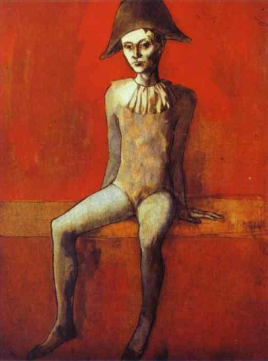pablo-picasso-harlequin-sitting-on-a-red-couch