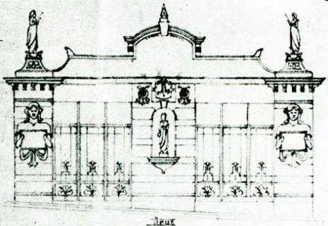 Projekat fasade prodavnice nadgrobnih spomenika porodice Bertoto, 1911.