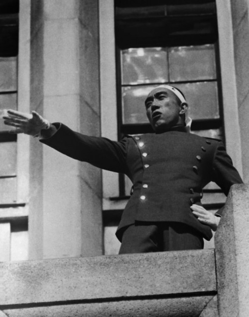 Mishima Appearing on Balcony to Speak