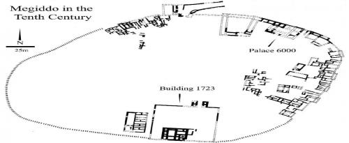 """sl. 18 Crtež plana arheološkog lokaliteta Megido iz desetog veka p.n.e. sa ucrtanim položajem objekta """"6000"""" sagrađenim u stilu tzv. """"bit hilani"""" palata"""