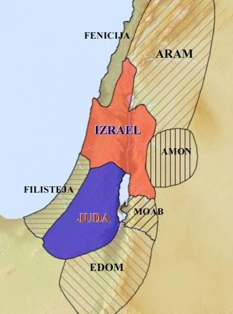Mapa severnog i južnog kraljevstva (Izrael i Judeja) sa susednim političkim entitetima