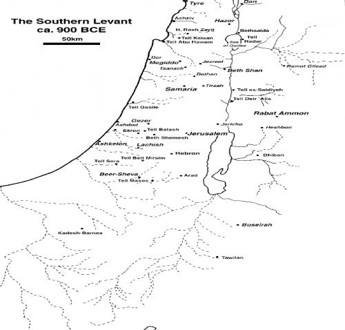 sl. 3 Mapa južnog Levanta tokom kasnog gvozdenog doba sa ključnim lokalitetima
