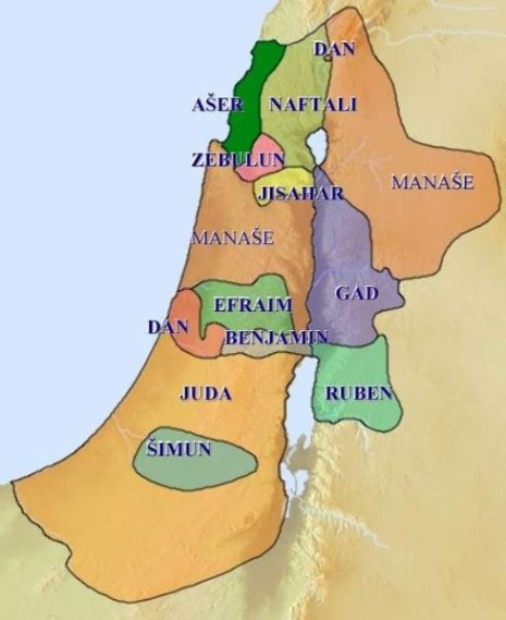 Mapa sa predpostavljenim teritorijama dvanaest izraelićanskih plemena