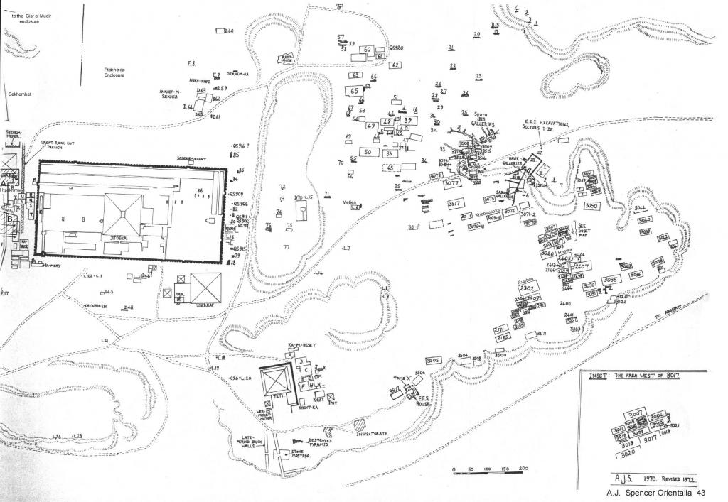 """10 Crtež nekropole u Sakari, sa obeleženom grobnicom S 3518, i ucrtanim položajem u okviru tzv. ,,Galerije Ibisa"""""""