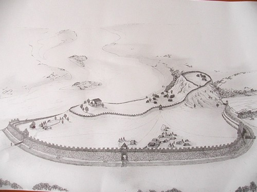 Djevin - predpostavljeni izgled utvrdjenja tokom postojanja Velikomoravske