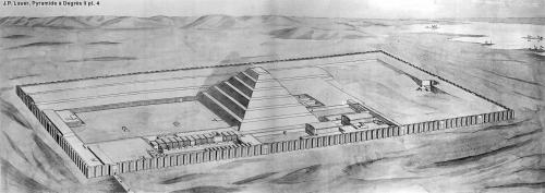 Džoserov piramidalni kompleks u Sakari: crtež idealne rekonstrukcije