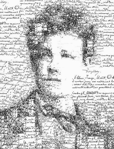 portret Remboa načinjen od njegovog rukopisa, Sergio Albiac