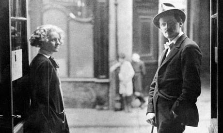 James Joyce with Sylvia Beach outside her book shop