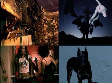 Popularna fikcija - Levo: urbana sredina, ples, podzemlje, kiša; Desno: pustinja, čovek sa maskom, snažna životinja, oluja koja dolazi, preobražaji