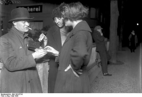 Cocaine dealer Koks Emil on the streets in Berlin, 1929.