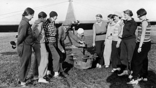 Female pilots get a lesson on gliding in a wooden prototype, Gatow, Berlin, Germany, 1929