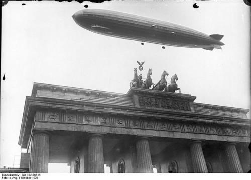 Graf Zeppelin over the Brandenburg Gate in Berlin, 1928