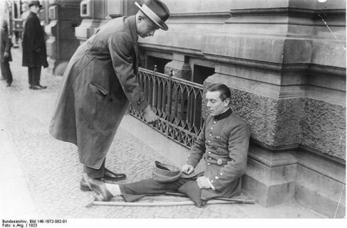 Veteran, wounded in the war, now forced to beg for survival. Berlin 1923