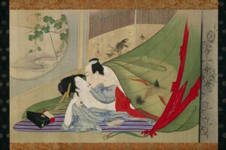 """Hosoda Eiši (1756–1829) """"Takmičenje u strasti tokom četiri godišnja doba"""""""