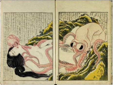 "Katsušika Hokusai (1760-1849), ""Žena i oktopod"""