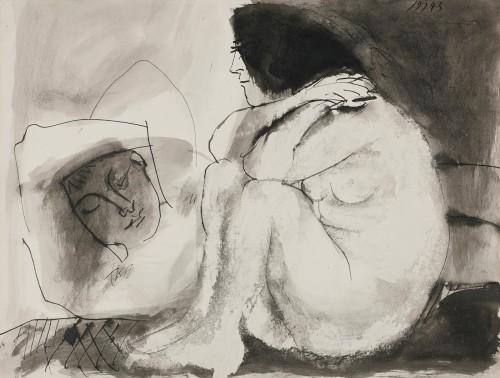 Pablo Picasso. Femme contemplant un homme endormi (homme couché et femme assise), 1943
