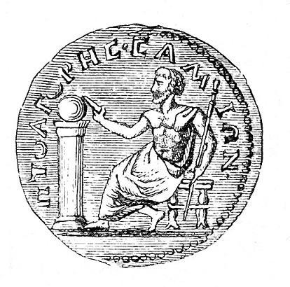 Novčić iz III veka sa likom Pitagore