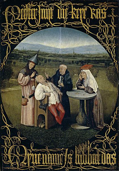 Na čuvenoj slici Hijeronim Boša, Cutting the Stone iz 1494. godine, prikazan je čin trepanacije u duhu alhemijskog procesa.