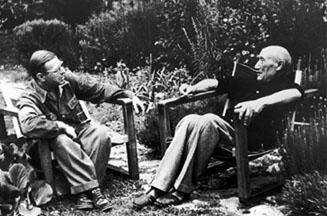 """Andre Žid i Žan Pol Sart, 1950. godine. Žid je izvršio veliki uticaj na Sartrovu filozofiju, što se naročito može videti u Sartrovoj drami """"Muve"""" ako je uporedimo sa """"Uskim vratima"""""""