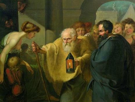 Diogen lampom u sred bela dana traži Iskrenog čoveka (autor J. H. W. Tischbein, 1780.)