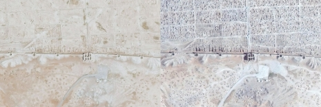Satellite images of the Dura Europos taken in Sept. 4, 2011 (left) and April 2, 2014 (right) show signs of severe looting.(www.mashable.com)
