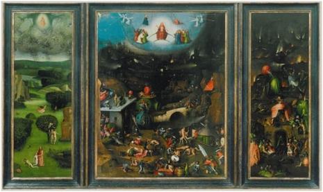 Hijeronimus Boš, Strašni sud, početak 16. veka, levi i desni panel 167,7 x 60 cm, središnji 164 x 127 cm, ulje na drvetu, Gemäldegalerie der Akademie der bildenden Künste Wien.