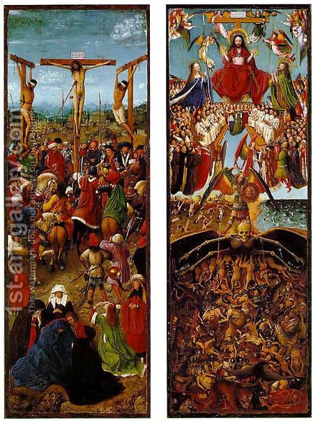 Jan van Ajk, Raspeće Hristovo i Strašni sud, oko 1430-1440., 56 x 19,7 cm, ulje na drvetu, Metropolitan Museum of Art, Njujork.