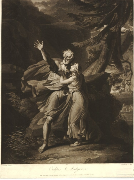 The blind Oedipus being lead through the wilderness by his daughter Antigone; after Thévenin. 1802 Mezzotint