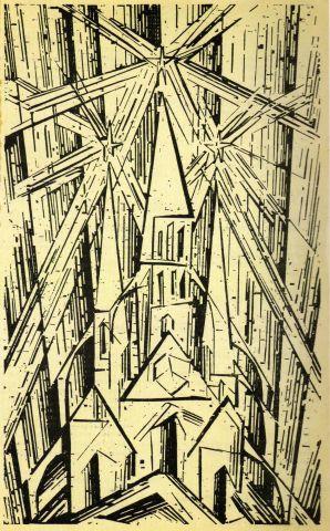 Naslovna strana Program of Staatliche Buhaus in Weimar,drvorez, Lyonel Feininger, 1919