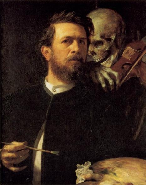 """Arnold Bocklin - Self portrait with death (za umno biće smrt postaje lično iskustvo, ne biološka činjenica kao kod životinje bez uma, te smrt više nije uopšteno smrt kao smrt, već postaje """"naša smrt"""", lična smrt, naš kraj života, prati nas celog našeg života)"""