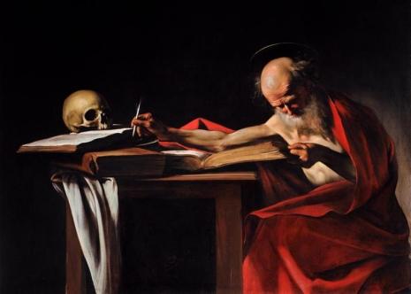 Caravaggio - Saint Jerome Writing (smrt je uvek prisutna za mislioca i on o njoj misli upravo dok je živ - jer, o smrti uvek samo govore i misle živi, mrtvi ćute, stoga sam izabrao sliku na kojoj je lobanja na knjizi)