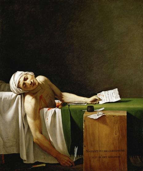 Jacques-Louis David - The death of Marat (čovek kojeg je smrt zatekla u veoma ličnom trenutku, ali i dok je nešto pisao, tj. radio umni rad, te ga je smrt prekinula u umnom radu, u mišljenju)