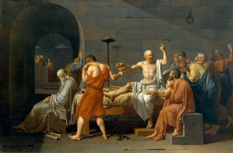 """Jacques-Louis David - The death of Socrates (Sokratova smrt, gde je on filozof, tj. na neki način predstava """"uma"""", mišljenja, a sa druge strane umire, jer pije otrov, dakle, smrt (velikog) """"uma"""" kroz smrt misioca)"""