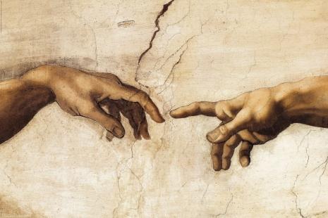 Michelangelo - Creation of Adam (simboličan spoj (božanskog) uma ko arhea i ljudskog uma kroz Mikelanđelovu sliku stvaranje Adama, tj. drugi je spoznao prvi kroz prirodu i zakone prirode)
