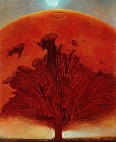 """Zdzisław Beksiński (Untitled) (drvo filozofije, gde je ontologija kao """"prima philosophia"""" na samom dnu i korenu, a filozofske discipline formiraju krošnju koja podseća na sferu, odnosno planetu, razumljenu kao naš """"svet"""", dakle sve ono što za nas jeste; mislim da na lep način spaja nauku ontologije sa njenim predmetom)"""