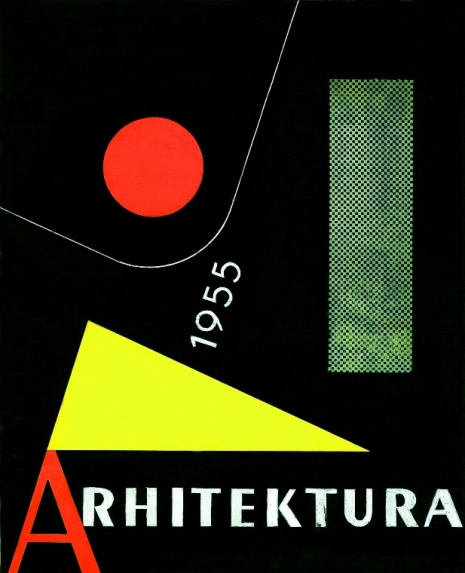 "Aleksandar Srnec, Draft Cover Design for ""Arhitektura"" Magazine, 1955, collage, tempera, cardboard, 300 x 242 mm, Marinko Sudac Collection"