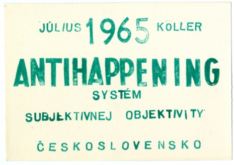 Július Koller, Antihappening. System of Subjective Objectivity, 1965, green stamp, paper, 115 x 164 mm, Marinko Sudac Collection