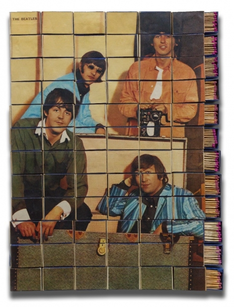Marko Pogačnik (OHO group), The Beatles Matchboxes, 1968, mixed media, matchboxes, 460 x 380 mm, Marinko Sudac Collection