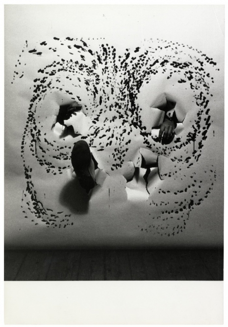 Milan Grygar, Tactile Drawing, 1969, performance photo-documentation, bw photograph, , Marinko Sudac Collection
